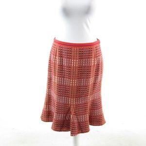 Etcetera red wool blend A-line skirt 6